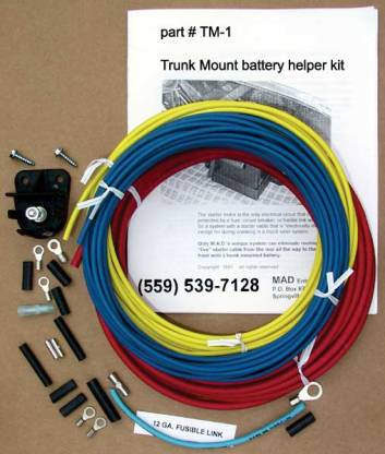 fusible link wire kit wire terminals and shrinkable tubing  an excellent installation  manual and rear mount battery
