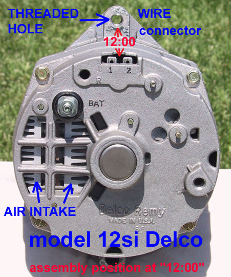the photo above shows a model 12si delco alternator, viewed from the rear   notice the increased air intake area with this 12si, as compared to the  10si
